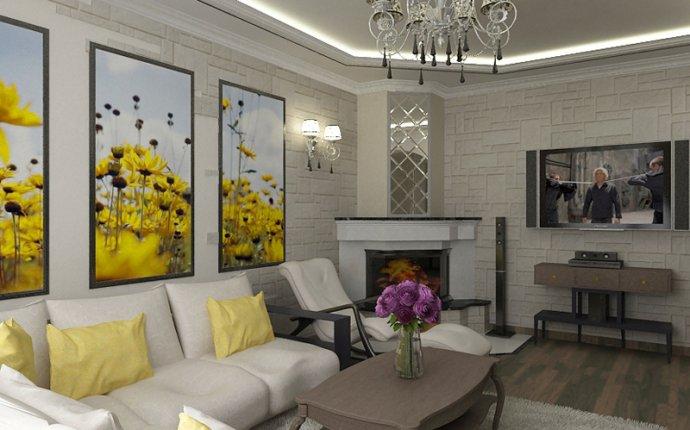 Дизайн небольшой гостинной с камином » Современный дизайн